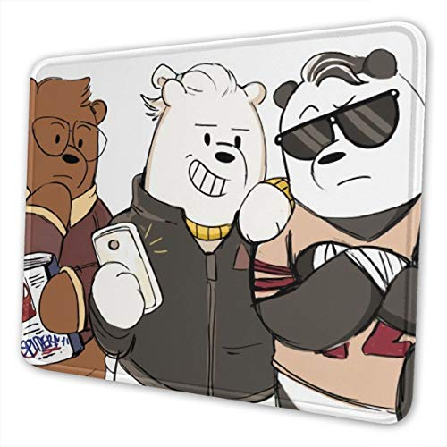 Didrika We Bare Bears Mouse Pad with Stitched Edge, Premium-Textured Mouse Mat, Non-Slip Rubber Base Mousepad for Laptop, Computer & Pc,10 X 12 Inch