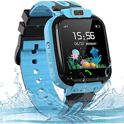 Montre LBS Enfant Tracker Montre Connectée Enfant Étanche Montre Téléphone Enfant Smartwatch, avec SOS Caméra Réveil, Cadeaux d'anniversaire pour Garçons et Filles, Bleu