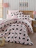 Set di biancheria da letto, 3pezzi, in cotone di alta qualità, per letto matrimoniale, rosa con gatti neri