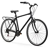 sixthreezero Explore Your Range Men's 7-Speed Hybrid Commuter Bicycle, Matte Black, 18' Frame/700x38c Wheels