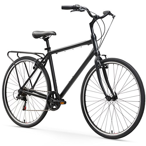 sixthreezero Explore Your Range Men's 7-Speed Hybrid Commuter Bicycle, Matte Black, 18