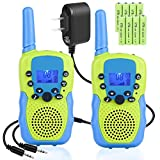 Walkie Talkies for Kids - Rechargeable Walkie Talkies Children walki Talki 22 Channels 3Km Long Range with Rechargeable Batteries and a Charger 2 Pack - Green