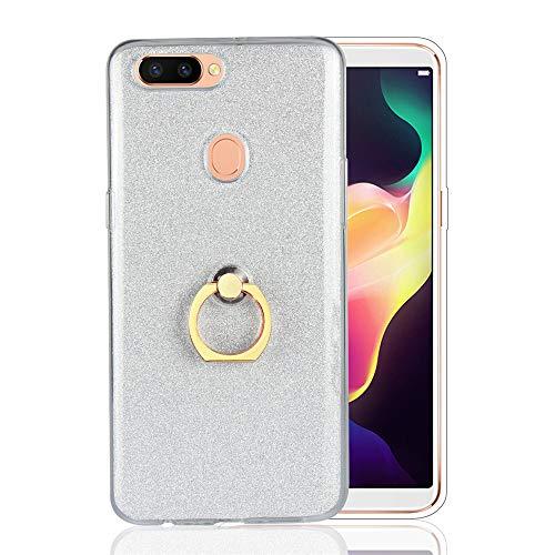 GARITANE Hülle für Asus Zenfone Go TV/ZB551KL,Bling Glitzer Handyhülle Clear Silikon Bumper Tasche Hülle Cover mit Ring Ständer Fingerhalterung (Weiß)