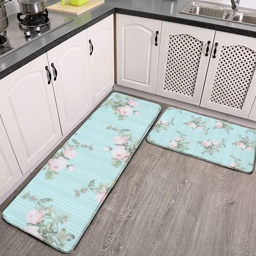 2 pezzi tappeti da cucina e tappetino, arredamento shabby chic, floreale, rosa menta, antiscivolo, tappetino da cucina in morbida flanella, antiscivolo, per soggiorno, camera da letto, cucina
