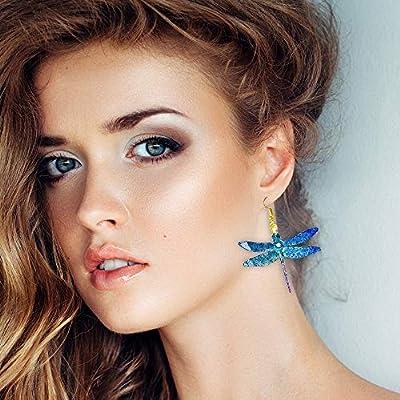 Boucles d'oreilles à la libellule - Cristal irisé brillant - Hologramme - Bijoux en plastique vintage - Boucles d'oreilles à libellules - Bijoux à la libellule bleue