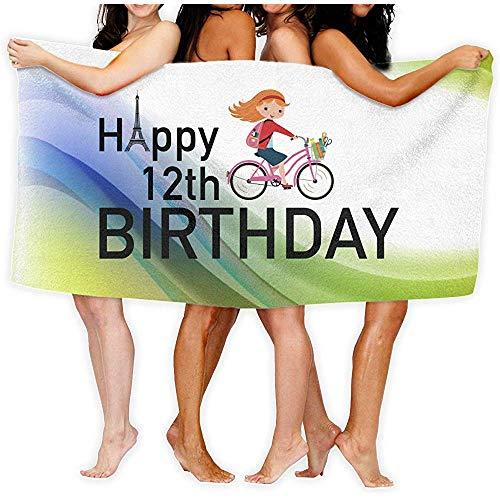 Black-Sky Badetuch Zwölfte Paris Birthday Girl Fahrrad Personalisieren Quick Dry Large Swim Strandtücher