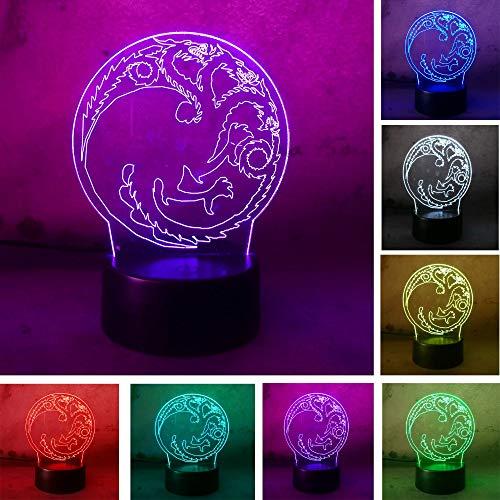 3D Rotondo Drago Totem Colore Oscurante Luce Notturna Home Table Decor Atmosfera Bambini Ragazzo Uomo Regali Anno Compleanno