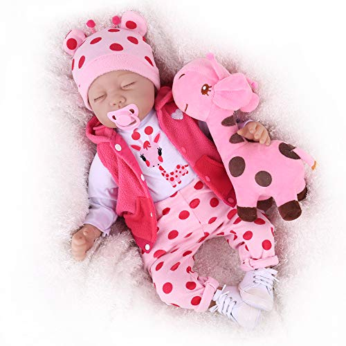 CHAREX Realistic Reborn Baby Doll:22 Inch Lifelike Realistic Newborn Soft Silicone Weighted Sleeping Baby Dolls That Look Real , Real Life Realistic Newborn Baby Dolls for Girl Age 3+
