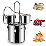 Rovisa Moonshine Still 5 Gallon 20L Water Alcohol Distiller Spirits Kit Copper Tube Home Brewing Wine Making Kit Build-in Thermometer for DIY Whisky Wine Brandy, Stainless Steel 3 Pot