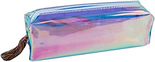 Teepao Zip Pencil Bag Metallic Pencil Case - Cosmetic Makeup Brush Pouch - Transparent Holographic Zipper Pouch Waterproof - School Supplies Stationery Gift