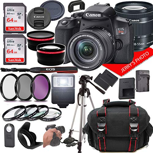 Canon eos rebel t8i dslr camera w/canon ef-s 18-55mm f/4-5. 6 is stm zoom lens + case + 128gb memory (28pc bundle)