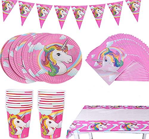 Amycute 82 piezas de unicornio, platos, servilletas, manteles, vasos, banderines – Sirve para 20 invitados – Vajilla de unicornio, unicornio para fiesta de cumpleaños para niños (82 unidades)
