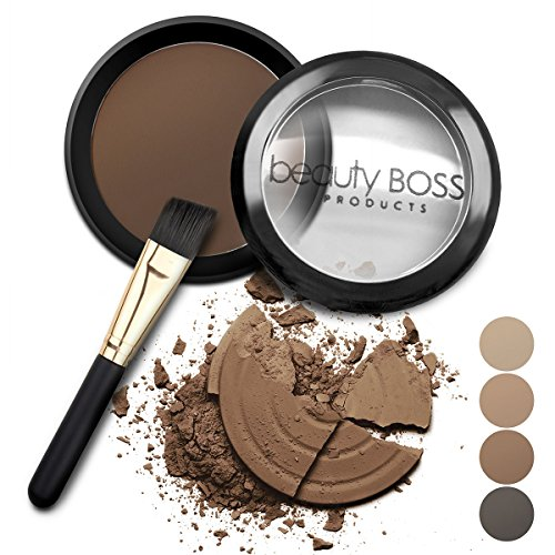 Eyebrow Powder Dark Brown - Natural Fill-in Eyebrow Makeup - Brow Powder Water Resistant Includes Small Brush