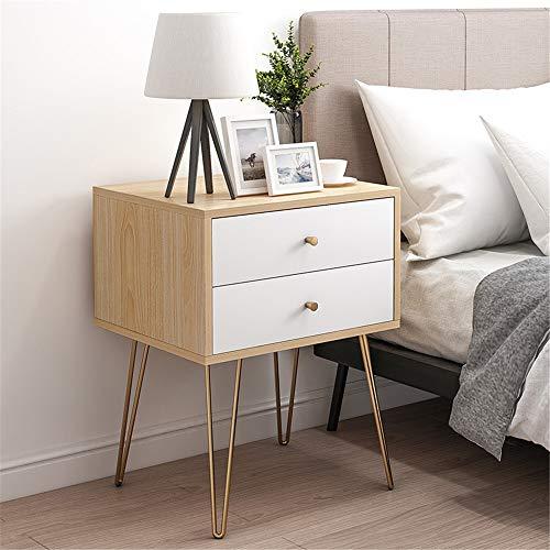 QinWenYan nachtkastje slaapkamer houten tafel bijzettafel salontafel met 2 laden voor slaapkamer woonkamer studeerkamer