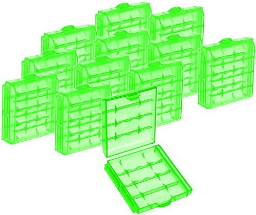 com-four® 12x Batteriebox aus Kunststoff - Aufbewahrungsbox für Batterien und Akkus - Akkubox für AA und AAA (12 Stück - Grün)