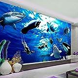 Papel Pintado Fotográfico 3D 300X210cm Tipo Fleece No-Trenzado Salón Dormitorio Despacho Pasillo Decoración Murales Decoración De Paredes Moderna Acuario Blue Ocean