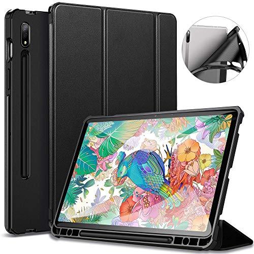 ZtotopCase Hülle für Samsung Galaxy Tab S7 11 Zoll, Ultra Dünn mit Standfunktion Slim PU Leder Smart Schutzhülle mit Stifthalter Passt für Samsung Galaxy Tab S7 2020 -Schwarz