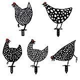 KEHUASHINA 5 Stück Hahn Metall Tier Silhouette Pfahl-Yard Chicken Art-Lebensechte Henne Huhn Hof Kunst Dekorative Garten Pfähle Metallkunst Gartenfigur Metall Hühner Deko Handarbeit Gartendeko Mischen