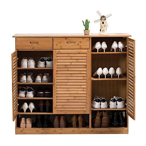 Zapatero Moderno de Bambú con 2 Cajones, Organizador de Almacenamiento de Zapatos de 5 Capas para hasta 30 Pares, Casa Pasillo Entrada