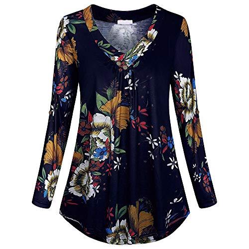 VEMOW Sommer Herbst Elegant Damen Oberteil Langarm O Neck Printed Flared Floral Beiläufig Täglich Geschäft Trainieren Tops Tunika T-Shirt Bluse Pulli(Y3-Violett, 44 DE/XL CN)