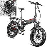 Bicicleta eléctrica Velocidad máxima de conducción 45 km/h Bicicletas eléctricas de montaña Plegable Ebike Iones de Litio 13.6AH Freno Frenos de Disco mecánicos, Negro