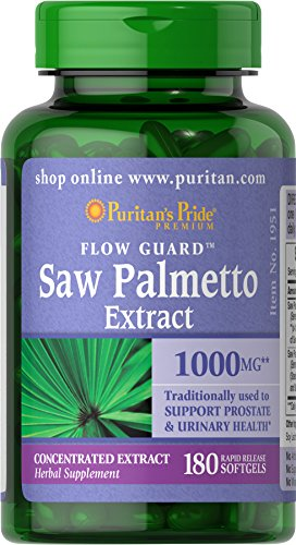 Puritan's Pride Saw Palmetto Extract, 1000 Mg, 180 Softgels (Packaging May Vary)
