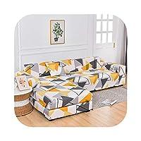 リビングルームのソファプロテクター用の正方形のプリントL字型寝椅子ソファカバーコーナーソファ用の防塵弾性ストレッチカバー-Color 1-4-seater 235-300cm