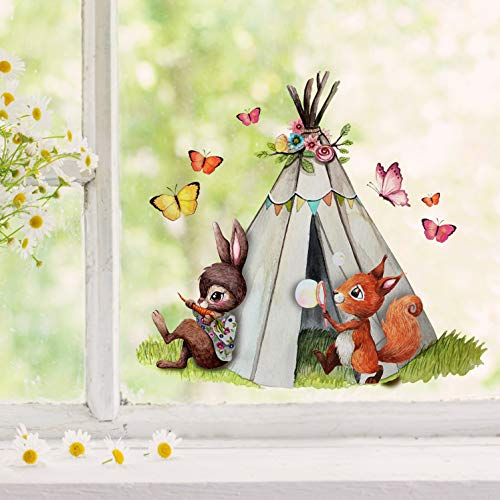 Fensterbilder Fensterbild Eichhörnchen Hase mit Zelt Schmetterlinge wiederverwendbar Frühling Frühlingsdeko Fensterdeko bf48 - ausgewählte Farbe: *bunt* ausgewählte Größe: *2. Eichhörnchen mit Zelt*