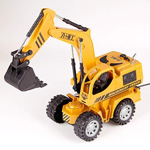 ZXHFDC Vehículo de ingeniería de control remoto Vehículo de construcción de 5 canales Excavadora Juguete para niños Coche de control remoto inteligente con topadora ligera Regalo de año nuevo Regalo d