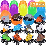 """Aitey 3.9"""" Jumbo Filled Easter Eggs with Prefilled 12 Pack Pull Back Animal Vehicles, Easter Surprise Eggs Car Toys for Kids Easter Theme Party Favor, Easter Eggs Hunt, Basket Stuffers Fillers"""