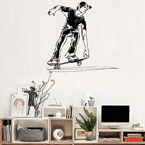 jiuyaomai Vinyl Wandaufkleber Skateboard Jungen Room Decals Skateboard Fahrt Kinder Schlafzimmer Kühle Wandbild Dekor Abnehmbare Tapete Purple 40 cm x 40 cm