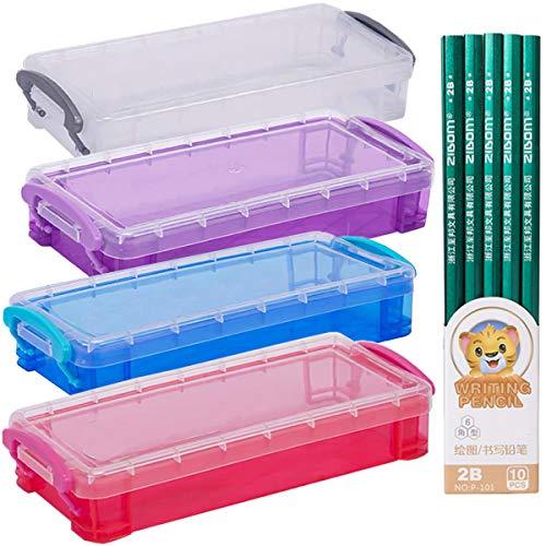durchsichtige stiftebox Fiyuer 14 Pcs organizer box bleistifte aufbewahrungsbox mit deckel stifthalter federmäppchen für Stifte Pinselmalstifte Aquarellstift Zeichnungs-Werkzeuge