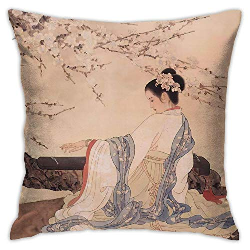 Fodere per Cuscino Decorativo Quadrato Antico Dipinto Cinese Antico per Divano e Letto Auto, 18 x 18 Pollici
