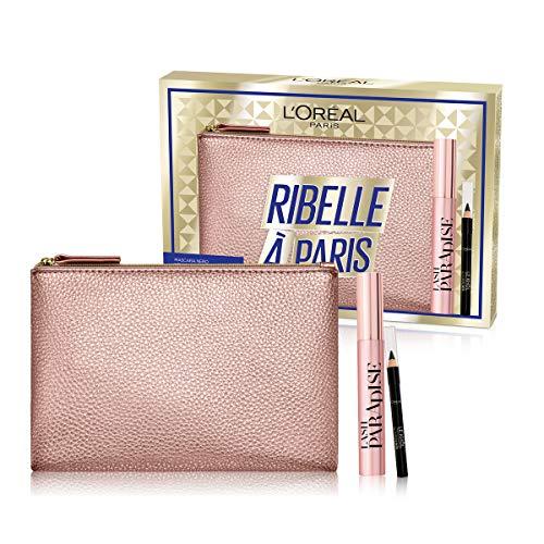 L'Oréal Paris Idea Regalo Donna Natale 2020, Pochette con Mascara Allungante Lash Paradise e Matita Occhi Nera Le Khol