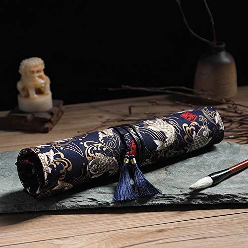 Alician 10 Gaten Canvas Borstel Wrap Roll met kwast Grote Capaciteit Tekening Potlood Opbergtas Schrijven Borstel-Zwarte Koi Trompet