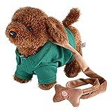 peluche interactivo, Perro de peluche electrónico Control de sonido Peluche juguete robot perro mascota para niños stand canta caminar caminar juguetes interactivos regalo niño niño ( Color : Green )