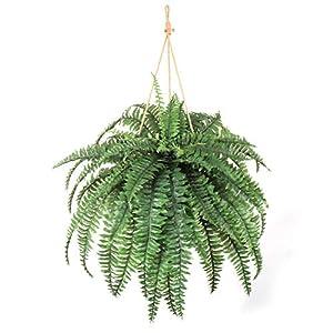 "Larksilk Boston Fern Artificial Plants Fake Silk Outdoor or Indoor House Plant, Hanging Basket or Planter, 48"" Inch Diameter 60 Fronds"