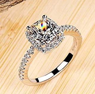 8Ninegift Luxurious 2 ct CZ Rings Female Ring Bijoux Newest White 4 Prong Zirconia Wedding Engagement Rings for Women (4.5)