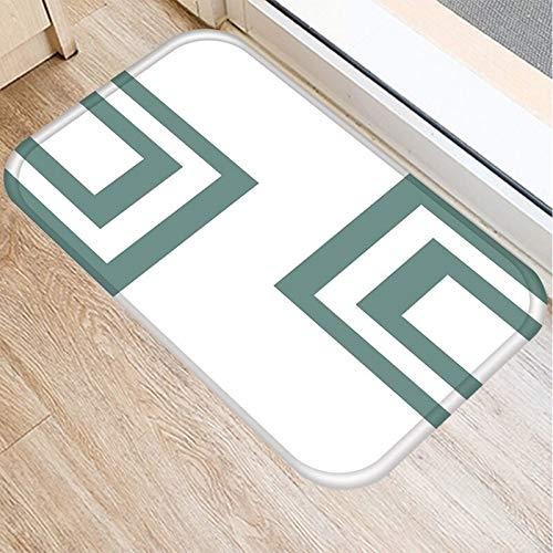 OPLJ Alfombra de Gamuza Antideslizante con patrón geométrico Verde, Felpudo para Puerta, Felpudo para Cocina al Aire Libre, Alfombra para Sala de Estar, Alfombra A14 40x60cm