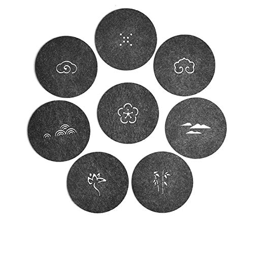 8 Pcs/set Chinese Felt Tea Cup Water Coaster Pot Mat Insulation Pads Anti-knock Anti-wear Water-absorptive Tableware Mat, 8 pcs, 9 cm,ROUND