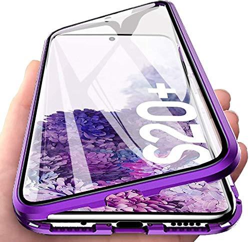 ZHXMALL 360 Grad Komplett Schutz Hülle für Samsung Galaxy S20 Plus, [Magnetische Absorption] [Vorne+Hinten] 2-in-1 Metallrahmen Case mit Gehärtetes Glas Transparente Anti-Kratzer Rundum Schutzhülle
