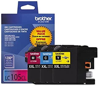 Brother LC1053PKS LC1053PKS, LC-105, Innobella Super High-Yld Ink, 1200 Pg-Yld, CMY, 3/Pk