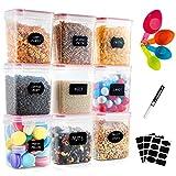 Deco haus Juego de 9 tarros de 1,6 l, caja de almacenamiento hermética para cocina, recipientes de almacenamiento de plástico con tapa, tarros para almacenar pasta, cereales, harina, etc.