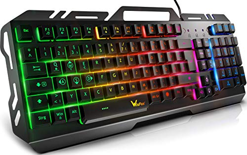 Gaming Tastatur, WisFox Bunte Rainbow LED Hintergrundbeleuchtete Gamer Keyboard, Ultra Sünn leise Ganzmetall USB Computertastatur mit Spritzwassergeschütztem Design für Windows PC Gamer-Schwarz