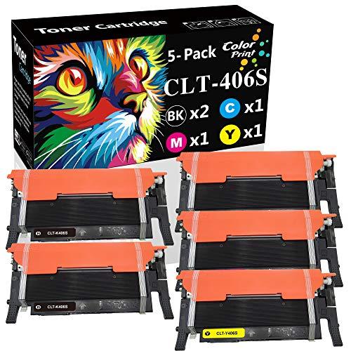 ColorPrint - Cartucho de tóner Compatible CLT-406S, Compatible con Samsung CLP-360 CLP-365 CLP-365W SL-C410W C460W C460FW CLX-3300 CLX-3305 CLX-3305W, Paquete de 5 Unidades