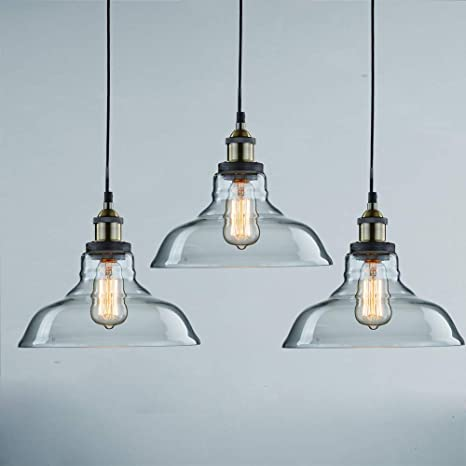 Claxy Ecopower Industrial Pendant Lighting Glass Kitchen Island Hanging Lights 3 Pack Amazon Com