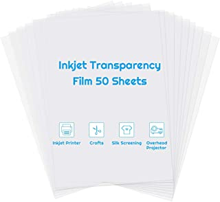 Inkjet Transparency Paper Sheets, Anezus 50 Pack Printable Transparent Film Quick Dry Clear 8.5 x 11 Inches Transparencies...
