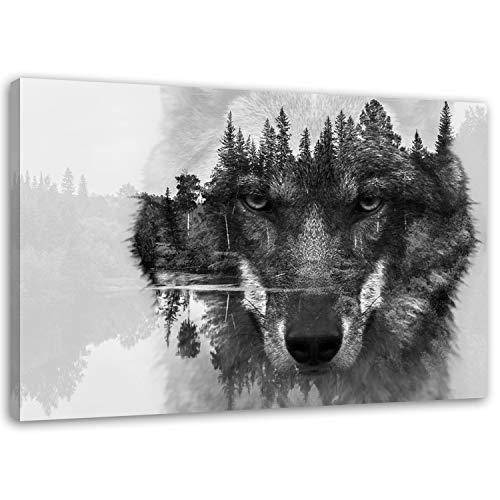 Feeby Frames, Leinwandbild, Bilder, Wand Bild, Wandbilder, Kunstdruck 80x120cm Natur Wald, Tier, Wolf, SCHWARZ, WEIß