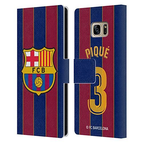 Head Case Designs Licenciado Oficialmente FC Barcelona Gerard Piqué 2020/21 Players Home Kit Group 2 Carcasa de Cuero Tipo Libro Compatible con Samsung Galaxy S7 Edge