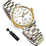 Ladies Wrist Watches with Day Date,Small Dial Wrist Ladies Watches,Stainless Steel Silver and Gold Watches for Women Waterproof,OLEVS Luminous Woman Watches Dress,Diamond Ladies Watch,reloj de Mujer